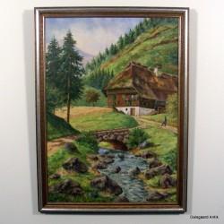 Hus på sæter ved elv