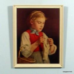 Pige der strikker