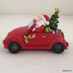 Bil med julemand & lys